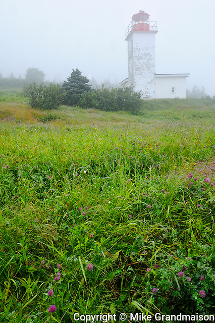 Quaco Head Lighthouse in fog on Bay of Fundy<br /> Saint Martins<br /> New Brunswick<br /> Canada