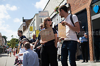 Maidenhead, 03/06/2017. Today, Disabled People Against Cuts (DPAC) held a demo in Maidenhead, Prime Minister Theresa May's constituency. The aim of the protest was to highlight the 'treatment' dedicated to disabled people from the Coalition Government (Conservative and Liberal Democrats, 2010 - 2015), then the David Cameron's Conservative Government (without the LibDem, 2015 - 2016) and finally the actual Conservative Government led by the former Secretary of State Theresa May. From the organiser website: &lt;&lt;[&hellip;] DPAC will take its message #TrashTheTories to the heart of Theresa May's constituency to highlight the horrors that disabled people have faced on a daily basis since they came to power in 2010. The UN has found the UK government guilty of the grave and systematic violation of disabled people's human rights and we will be making it clear that enough is enough, to the voters of Maidenhead. The Tories have heartlessly attacked disabled people with their vicious anti-austerity cuts which have hit disabled people 9 times more than any other group and those with the highest support needs 19 times more. In all the years we have been campaigning, it has never felt so desperately important to get the public to understand; Tory policies are starving, isolating and ultimately killing us [&hellip;]&gt;&gt;. The demo ended with a peaceful outside Maidenhead train station.<br /> <br /> For more info click here: http://bit.ly/2r4PDN4<br /> <br /> For the UN inquiry findings click here: http://bit.ly/2fPttxR<br /> <br /> For some of my Reportages, from 2011 to 2017, about DPAC please click here: http://bit.ly/2ptsCpe &amp; http://bit.ly/2qBhPaf &amp; http://bit.ly/2oV25Tn &amp; http://bit.ly/2qBG208 &amp; http://bit.ly/1iUyrnM &amp; http://bit.ly/VEXEJ9 &amp; http://bit.ly/VAVlqB &amp; http://bit.ly/1m2kd4r &amp; http://bit.ly/1rNq9g6 &amp; http://bit.ly/2qpEIRT &amp; http://bit.ly/17NsF3g &amp; http://bit.ly/1BBg8xG &amp; http://bit.ly/1Csch79 &amp; http://bit.