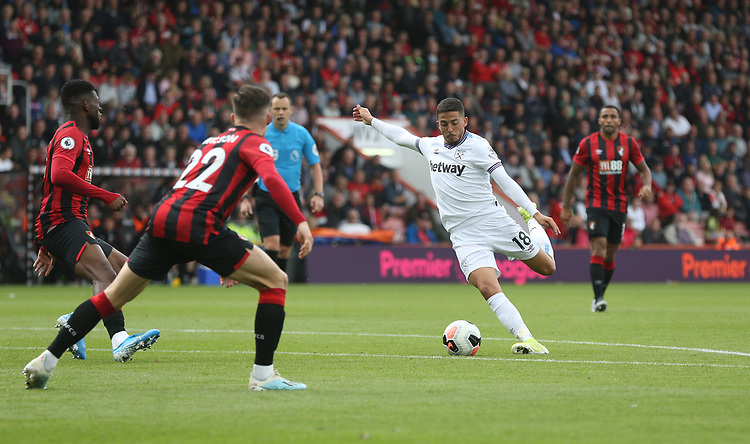 West Ham United's Pablo Fornals with a second half shot<br /> <br /> Photographer Rob Newell/CameraSport<br /> <br /> The Premier League - Bournemouth v West Ham United - Saturday 28th September 2019 - Vitality Stadium - Bournemouth<br /> <br /> World Copyright © 2019 CameraSport. All rights reserved. 43 Linden Ave. Countesthorpe. Leicester. England. LE8 5PG - Tel: +44 (0) 116 277 4147 - admin@camerasport.com - www.camerasport.com