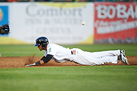 Kane County Cougars outfielder Victor Reyes (5) slides head first into second during a game against the Great Lakes Loons on August 13, 2015 at Fifth Third Bank Ballpark in Geneva, Illinois.  Great Lakes defeated Kane County 7-3.  (Mike Janes/Four Seam Images)