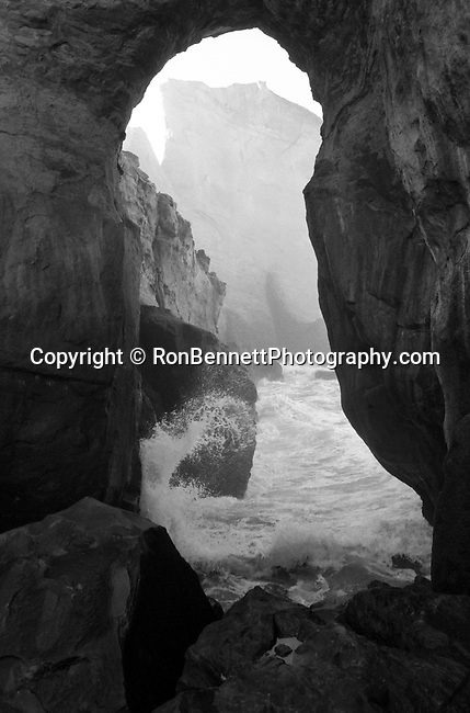 Cape Kiwanda sea cave along coast line of Pacific City Oregon, Pacific Ocean cave Oregon, Black and White Photographs, Black & White Photo's, B&W Photographs,  B&W, Black and White, Fine Art Photography, photography, Fine Art Photography by Ron Bennett, Fine Art, Fine Art photography, Art Photography, Copyright RonBennettPhotography.com ©