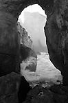 Cape Kiwanda sea cave along coast line of Pacific City Oregon, Pacific Ocean cave Oregon, Black and White Photographs, Black & White Photo's, B&W Photographs,  B&W, Black and White, Fine Art Photography, photography, Fine Art Photography by Ron Bennett, Fine Art, Fine Art photography, Art Photography, Copyright RonBennettPhotography.com ©
