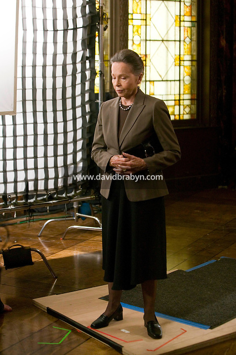 "8 May 2006 - North Bergen, NJ - French actress Leslie Caron (R) rehearses her lines between two takes on the studio set of television show ""Law & Order: SVU"" in North Bergen, USA, 8 May 2006. In this rare appearance in front of American television cameras, Caron, 74, plays a French victim of past sexual molestation in an episode entitled ""Recall"" due to air in the fall. Caron starred in Hollywood classics such as ""An American in Paris"" (1951), ""Lili"" (1953), ""Gigi"" (1958). More recently she appeared in ""Chocolat"" (2000) and ""Le Divorce"" (2003). Photo Credit: David Brabyn"