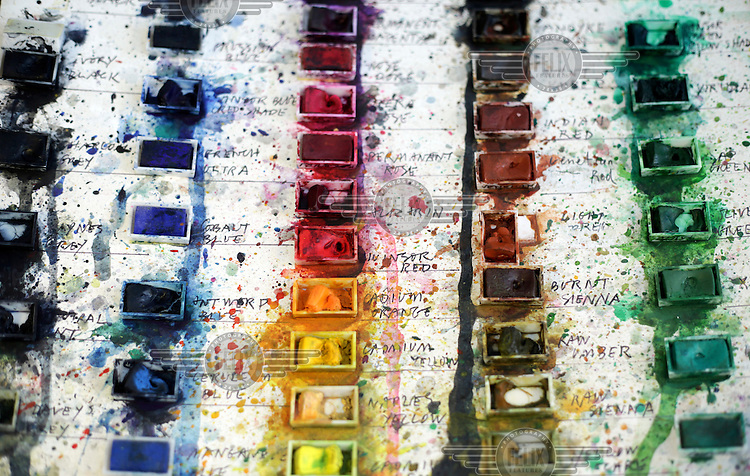 Blocks of water colours in artist Quentin Blake's studio.