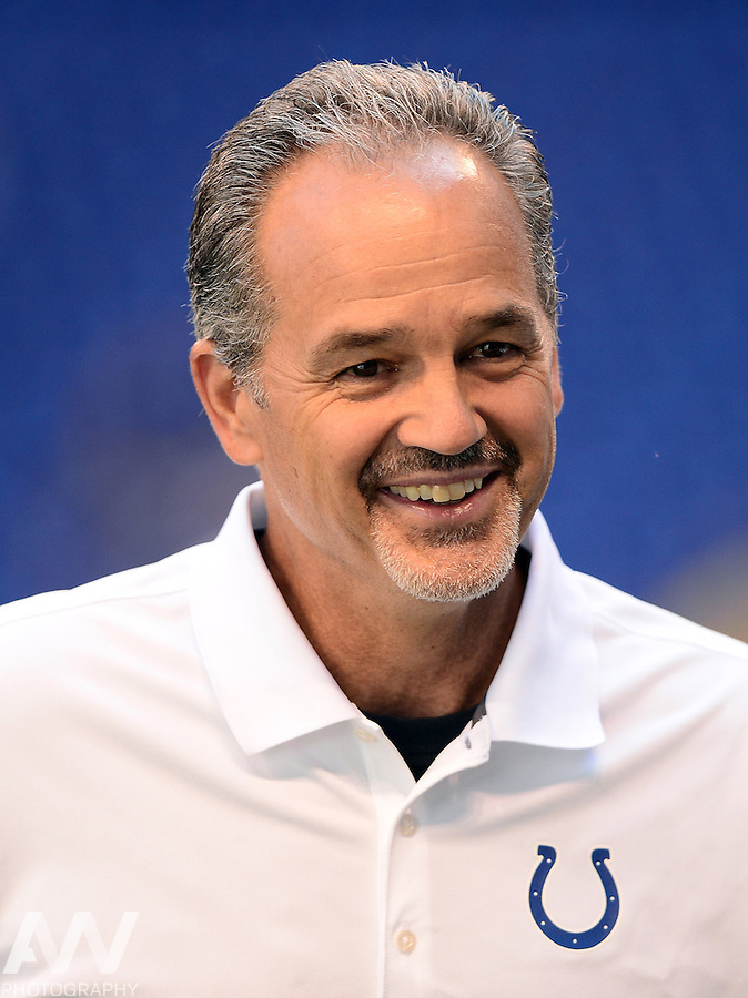 Sep 28, 2014; Indianapolis, IN, USA; Indianapolis Colts head coach Chuck Pagano against the Tennessee Titans at Lucas Oil Stadium. Mandatory Credit: Andrew Weber-USA TODAY Sports