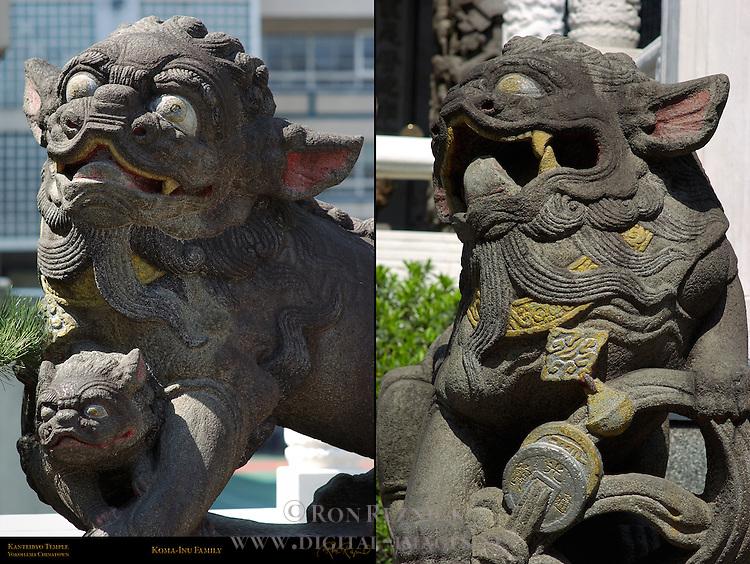 Koma-inu Family Male Female and Baby Kanteibyo Temple Chinatown Yokohama Japan