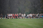 EVANSVILLE, IN - NOVEMBER 18: Teams break from the start gate during the Division II Men's Cross Country Championship held at the Angel Mounds on November 18, 2017 in Evansville, Indiana. (Photo by Tim Broekema/NCAA Photos/NCAA Photos via Getty Images)