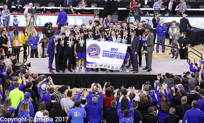 SIOUX FALLS, SD: MARCH 7: South Dakota State defeated Omaha to win the Men's Summit League Basketball Championship Game on March 7, 2017 at the Denny Sanford Premier Center in Sioux Falls, SD. (Photo by Dick Carlson/Inertia)
