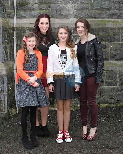 Sinead O'Neill with Laura Kelly, Katie O'Neill and Orla O'Neill at Termonfeckin NS Confirmation...(Photo credit should read Jenny Matthews/NEWSFILE)...