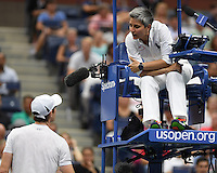 FLUSHING NY- SEPTEMBER 07: Andy Murray talks to the chair umpire during his match with Kei Nishikori on Arthur Ashe Stadium at the USTA Billie Jean King National Tennis Center on September 7, 2016 in Flushing Queens. Credit: mpi04/MediaPunch