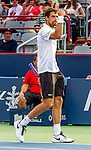 Jeremy Chardy (FRA)  defeats John Isner (USA)6-7, 7-6, 7-6,  at the Rogers Cup in Montreal, Canada on August 14, 2015.