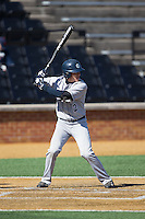 Chase Bushor (2) of the Georgetown Hoyas at bat against the Bucknell Bison at Wake Forest Baseball Park on February 14, 2015 in Winston-Salem, North Carolina.  The Hoyas defeated the Bison 8-5.  (Brian Westerholt/Four Seam Images)