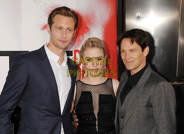 "Alexander Skarsgard, Anna Paquin, Stephen Moyer.HBO's ""True Blood"" Season 5 Premiere, Hollywood, California, USA..May 30th, 2012.half length black dress sheer polka dot sleeveless grey gray suit married husband wife pregnant blue .CAP/ROT/TM.©Tony Michaels/Roth Stock/Capital Pictures"