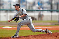 Purdue Boilermakers pitcher Brett Andrzejewski #32 delivers a pitch during a game against the Notre Dame Fighting Irish at the Big Ten/Big East Challenge at Al Lang Stadium on February 19, 2012 in St. Petersburg, Florida.  (Mike Janes/Four Seam Images)