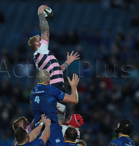 8th September 2017, RDS Arena, Dublin, Ireland; Guinness Pro14 Rugby, Leinster versus Cardiff Blues; Damian Welch (Cardiff Blues) gathers the lineout ball