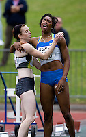 17 JUL 2008 - LOUGHBOROUGH, UK - Montell Douglas (right) celebrates breaking the British womens 100m record in a time of 11.05 seconds with Laura Turner - 100m -  Loughborough European Athletics Permit Meeting. (PHOTO (C) NIGEL FARROW)