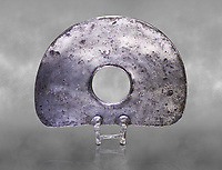 "Bronze Age Hattian ceremonial standard known as ""Sun Disks"" in silver from a possible Bronze Age Royal grave (2500 BC to 2250 BC) - Alacahoyuk - Museum of Anatolian Civilisations, Ankara, Turkey"