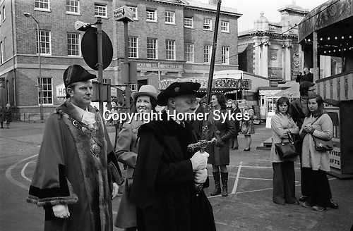 THE KINGS LYNN MART NORFOLK. Mart Fair. Kings Lynn, Norfolk 1974. 14 February, the Mayor Mr Edgar E.G. Edgley and Lady Mayoress process to the opening of the 	Charter Fair granted by Henry VIII in 1537, and as such is 	considered one of the oldest Mart fairs in the world.<br />