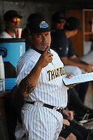 Trenton Thunder coach Orlando Mercado (57) during game against the Binghamton Mets at ARM & HAMMER Park on July 27, 2014 in Trenton, NJ.  Trenton defeated Binghamton 7-3.  (Tomasso DeRosa/Four Seam Images)
