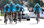 Astana Pro Team competes at the finish of the team time trial of the first stage of the cycling road race 'Giro del Trentino' in Arco.