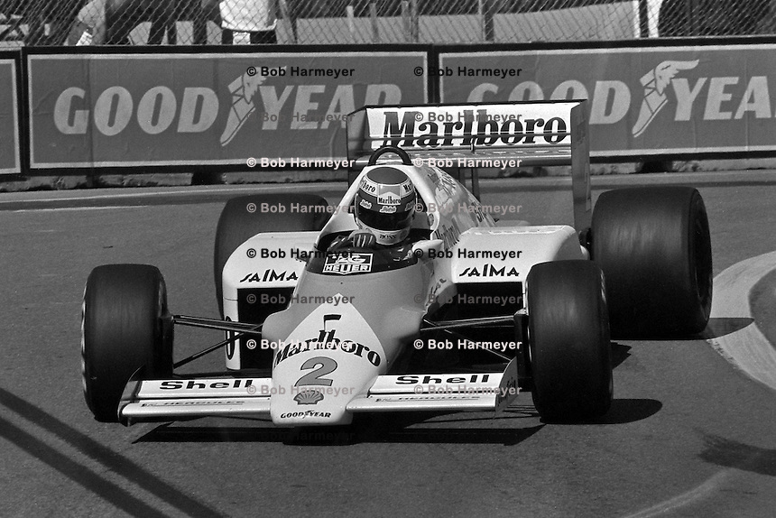 DETROIT, MI - JUNE 22: Keke Rosberg of Finland drives the McLaren MP4-2C/TAG TTE PO1 during the Detroit Grand Prix FIA Formula One World Championship race on the Detroit Street Circuit in Detroit, Michigan, on June 22, 1986.