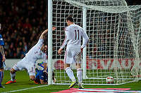 Wednesday 05 March 2014<br /> Pictured: Sam Vokes put the ball into the Iceland Net<br /> Re: International friendly Wales v Iceland at the Cardiff City Stadium, Cardiff,Wales UK