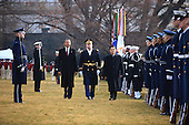 Army Colonel David Anders escorts United States President Barack Obama and President Hu Jintao of China as they review the troops on the South Lawn of the White House, Wednesday, January 19, 2011. .Mandatory Credit: Lawrence Jackson - White House via CNP