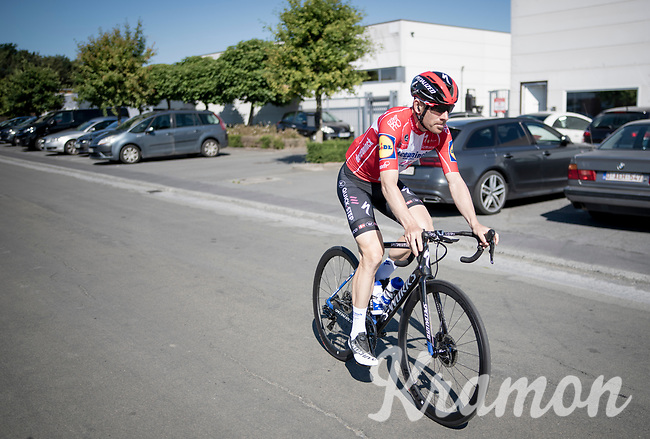 Michael Morkov (DEN/Deceuninck-QuickStep) leaving the Team Deceuninck-QuickStep Service Course  in Flanders for a training ride/recon of the Gent-Wevelgem course as part of the first post-lockdown training camp (because of the coronavirus crisis) in preperation of a re-start of the reshuffled roadcycling race calender in july/august<br /> <br /> Belgium, june 2020<br /> ©kramon