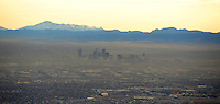 Denver aerial with winter smog