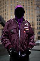 "A man wears ""hoodie"" sweatshirt demanding justice for the death of Florida teen Trayvon Martin in New York, United States. 29/03/2012.  Photo by Eduardo Munoz Alvarez / VIEWpress."