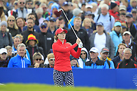 Brittany Altomare of Team USA on the 10th tee during Day 1 Fourball at the Solheim Cup 2019, Gleneagles Golf CLub, Auchterarder, Perthshire, Scotland. 13/09/2019.<br /> Picture Thos Caffrey / Golffile.ie<br /> <br /> All photo usage must carry mandatory copyright credit (© Golffile | Thos Caffrey)