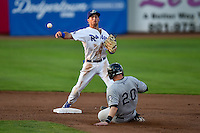 Brandon Montgomery (18) second baseman of the Ogden Raptors starts the double play as Brian Serven (20) of the Grand Junction Rockies slides in Pioneer League action at Lindquist Field on August 24, 2016 in Ogden, Utah. The Raptors defeated the Rockies 11-10. (Stephen Smith/Four Seam Images)