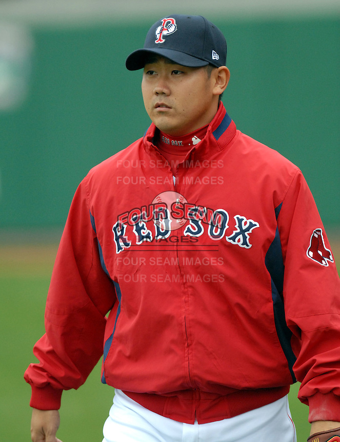 Boston Red Sox RHP Daisuke Matsuzaka makes a rehab appearance with the AAA International League Pawtucket Red Sox at McCoy Stadium in Pawtucket, RI 5-5-09  (Photo by Ken Babbitt/Four Seam Images)