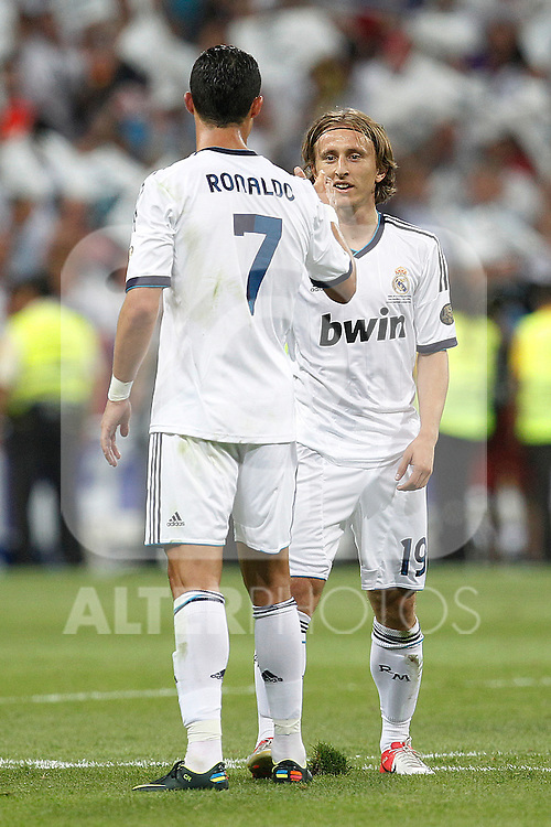 Real Madrid's Cristiano Ronaldo and Luka Modric during Spanish Supercup 2nd match on august 29 2012...Photo: Cebola / Cid-Fuentes / ALFAQUI