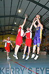 Where did they come from? Mustang Sally St Pauls' Jarlait Lee finds St Mary's duo Declan Culhane and Eamon O'Donoghue blocking his path in the Men's Division One final at the Castleisland Blitz.   Copyright Kerry's Eye 2008
