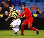 Nederland, Arnhem, 18 december 2015<br /> Eredivisie<br /> Seizoen 2015-2016<br /> Vitesse-FC Twente<br /> Renato Tapia Cortijo van FC Twente en Milot Rashica strijden om de bal