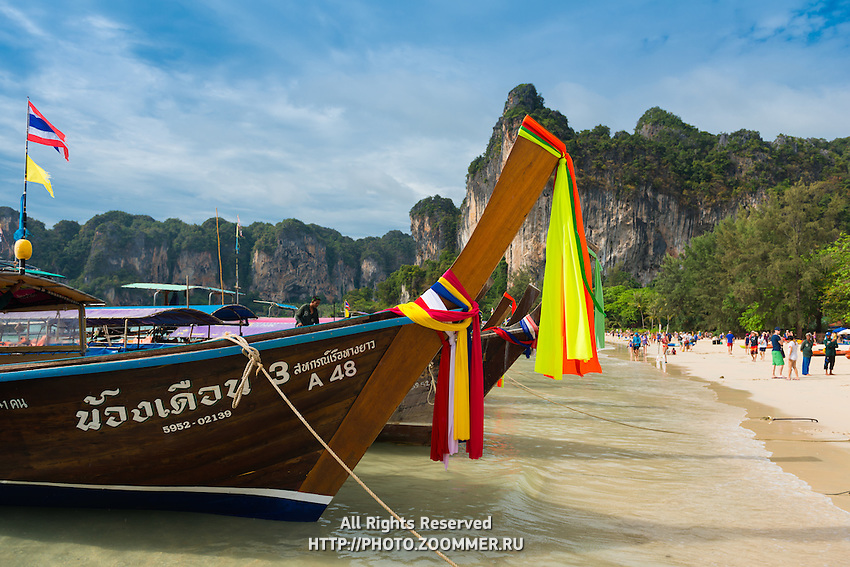 Long-tail boats in Krabi Railay beach