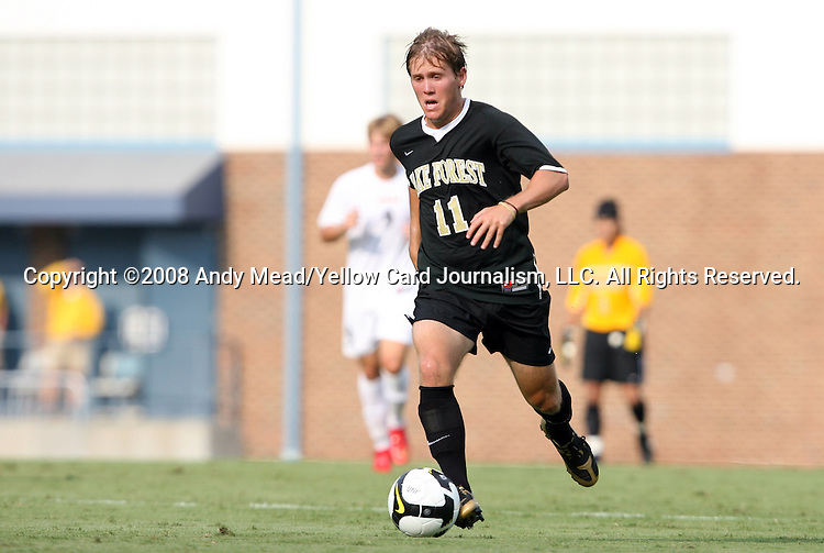 22 August 2008: Wake Forest's Jamie Franks. The Wake Forest University Demon Deacons defeated the Virginia Commonwealth University Rams 2-1 at Fetzer Field in Chapel Hill, North Carolina in an NCAA Division I Men's college soccer game.