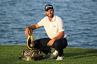 Adri Arnaus (ESP) poses with the trophy after the final round of the Ras Al Khaimah Challenge Tour Grand Final played at Al Hamra Golf Club, Ras Al Khaimah, UAE. 03/11/2018<br /> Picture: Golffile | Phil Inglis<br /> <br /> All photo usage must carry mandatory copyright credit (&copy; Golffile | Phil Inglis)