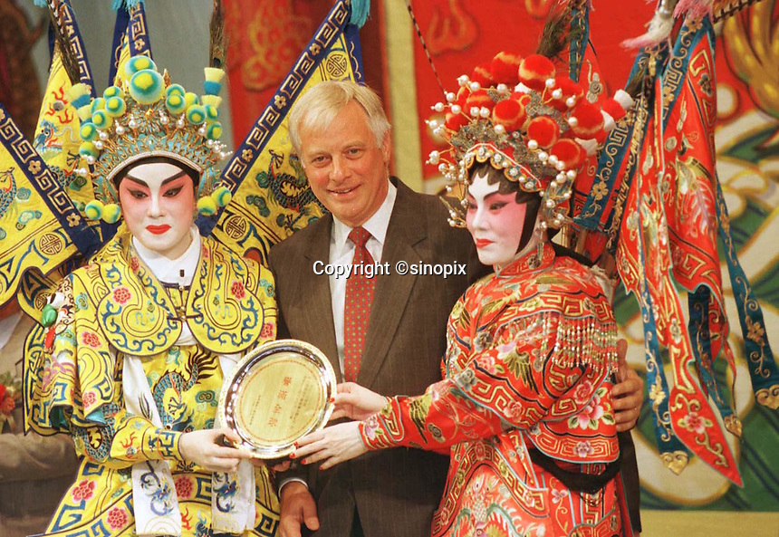200697: PATTEN : HONG KONG<br /> <br /> The Last Governor of Hong Kong,  Chris Patten during a Cantonese Opera in the New territories.