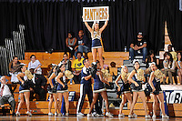 28 January 2012:  FIU's cheerleaders fire up the crowd during a break in the action in the second half as the Western Kentucky University Hilltoppers defeated the FIU Golden Panthers, 61-51, at the U.S. Century Bank Arena in Miami, Florida.
