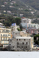 Una veduta di Rapallo, sormontata dalle colline. In primo piano, il Castello.<br /> Explanade of the town of Rapallo with hills behind and the Castle in foreground.<br /> UPDATE IMAGES PRESS/Riccardo De Luca