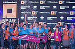 Awards ceremony at the Bloomberg Square Mile Relay near the Huangpu River in Shanghai, China.  Photo by Marcio Machado / Power Sport Images