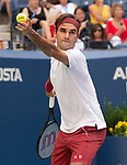 September  1, 2018:  Roger Federer (SUI) defeated Nick Kyrgios (AUS)  6-4, 6-1, 7-5, at the US Open being played at Billy Jean King Ntional Tennis Center in Flushing, Queens, New York. Karla Kinne/Tennisclix