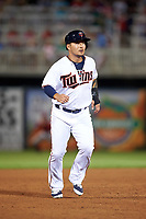 Minnesota Twins designated hitter Byung Ho Park (52) running the bases during a Spring Training game against the Boston Red Sox on March 16, 2016 at Hammond Stadium in Fort Myers, Florida.  Minnesota defeated Boston 9-4.  (Mike Janes/Four Seam Images)