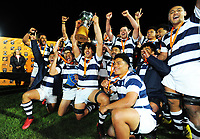 The Auckland team celebrates winning the Jock Hobbs Memorial Under-19 Rugby Tournament Graham Mourie Cup Premiership final between Auckland and Waikato at Owen Delany Park in Taupo, New Zealand on Saturday, 16 September 2012. Photo: Dave Lintott / lintottphoto.co.nz