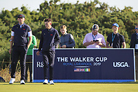 Harry Hall (GB&I) and Conor Gough (GB&I) on the 4th tee during Day 2 Foursomes of the Walker Cup, Royal Liverpool Golf CLub, Hoylake, Cheshire, England. 08/09/2019.<br /> Picture Thos Caffrey / Golffile.ie<br /> <br /> All photo usage must carry mandatory copyright credit (© Golffile | Thos Caffrey)