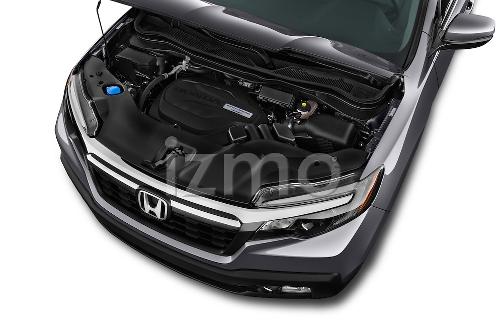 Car Stock 2017 Honda Ridgeline RTL-T 4 Door Pick-up Engine  high angle detail view