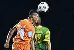 22 September 2012: Carolina's Amir Lowery (left) heads the ball over Tampa Bay's Keith Savage (22). The Carolina RailHawks played the Tampa Bay Rowdies to a 0-0 tie at WakeMed Soccer Stadium in Cary, NC in a 2012 North American Soccer League (NASL) regular season game.