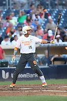 Alexis Torres (15) of the East team bats during the 2015 Perfect Game All-American Classic at Petco Park on August 16, 2015 in San Diego, California. The East squad defeated the West, 3-1. (Larry Goren/Four Seam Images)